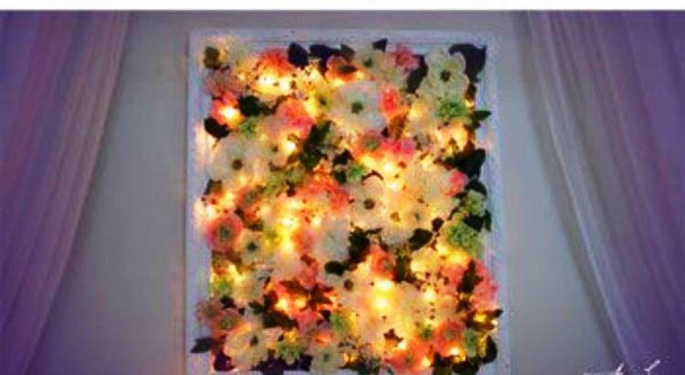 Işıklı Çiçekli Duvar Çerçevesi
